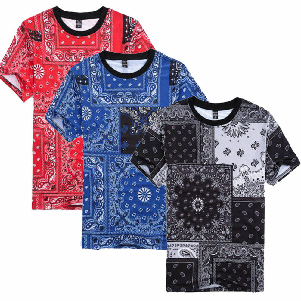 Men 39 s casual bandana printed short sleeve hip hop t shirt for Tahari t shirt mens