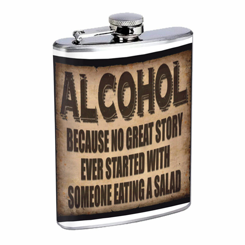 Funny Drinking Signs Hip Flask D1 8oz Stainless Steel ...