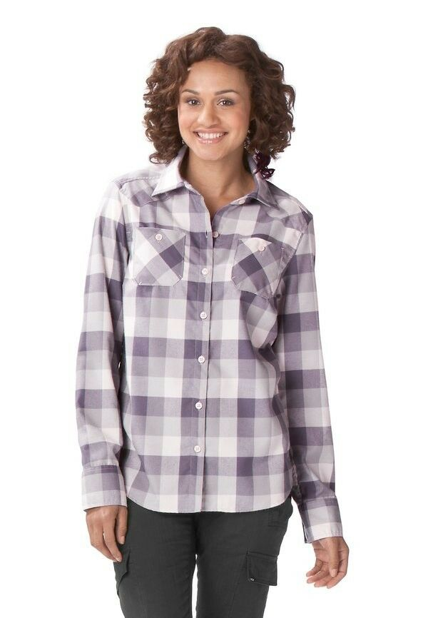 Womens oakley woodland woven l s button down up flannel for Plaid button down shirts for women