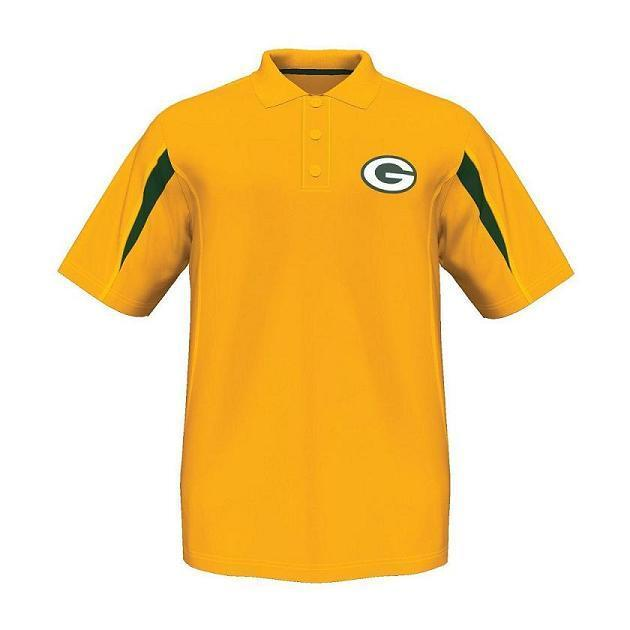 Majestic green bay packers yellow field classic synthetic for Yellow golf polo shirts