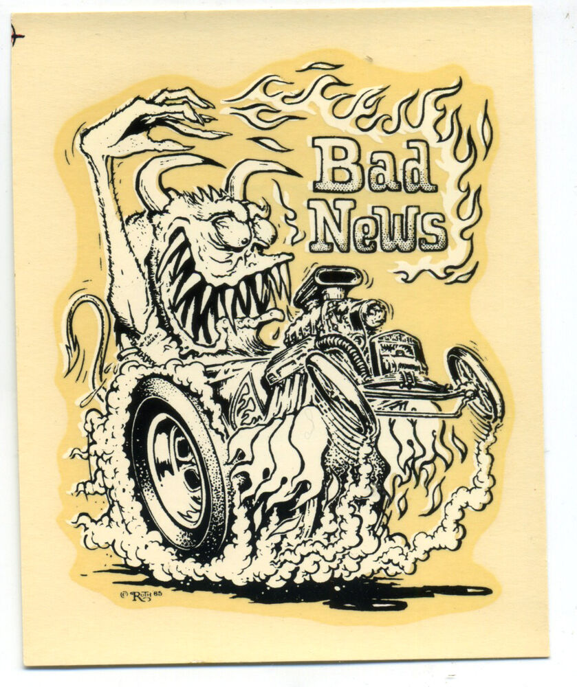 Vtg Ed Roth Water Decal Bad News Monster Hot Rod Drag Race