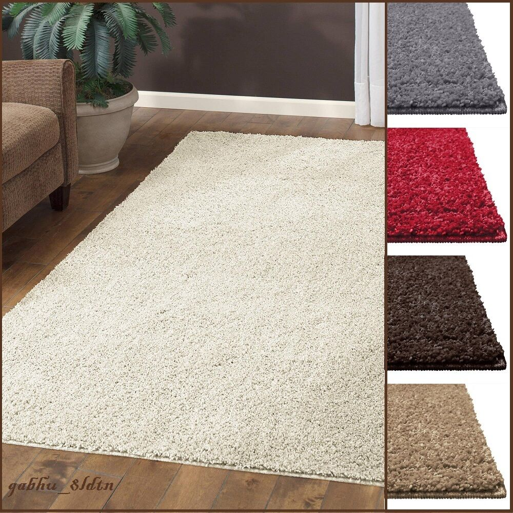 New shag area rug thick and soft home big plush carpet - Living room area rugs ...