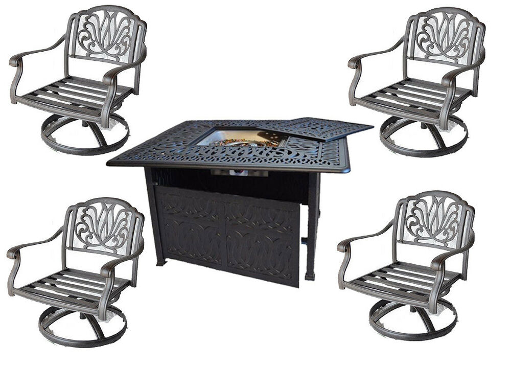 Outdoor Fire Pit Table set Patio Fireplace Propane Cast
