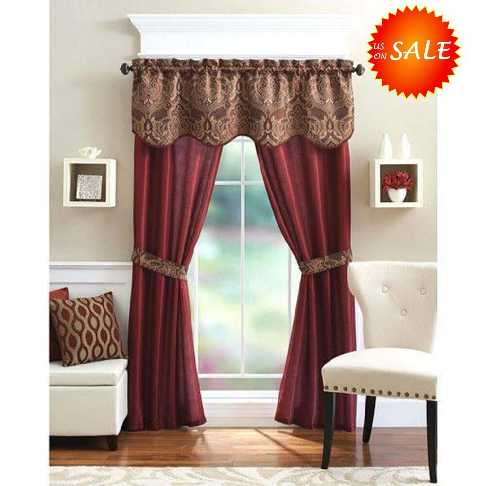 Unique curtain panel valance window treatment set elegant home decor living room ebay - Home design curtains ...