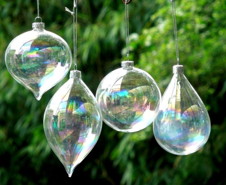 8x Clear Glass Olive Balls Christmas Ornaments pendant ...