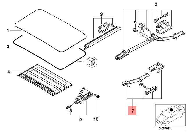 Genuine Bmw E39 X5 E53 Sunroof Water Channel Right Repair Kit Oem