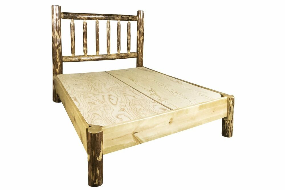 Amish platform beds log full size bed solid pine rustic for Full size bed and dresser