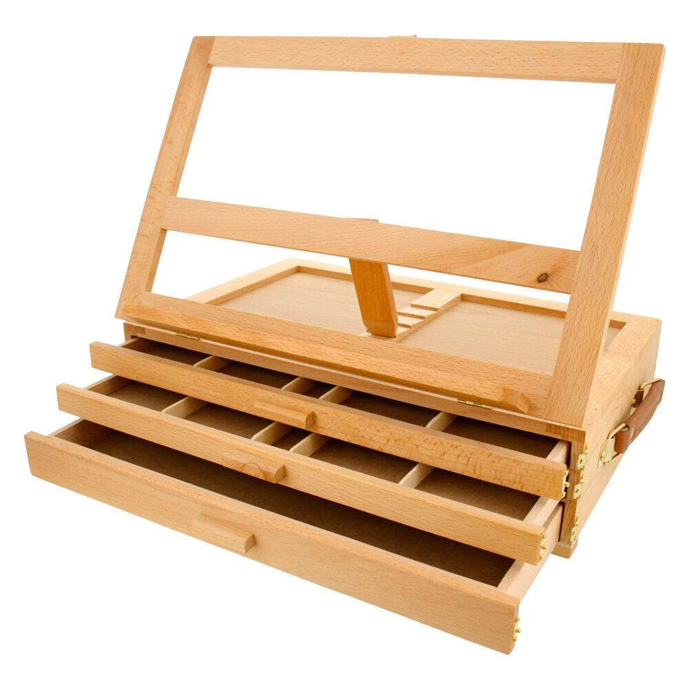 Artist wood tabletop portable drawer desk easel with