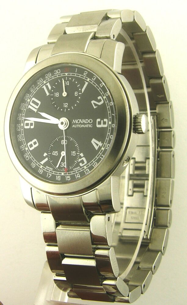 movado 0604800 mens automatic chronograph stainless steel