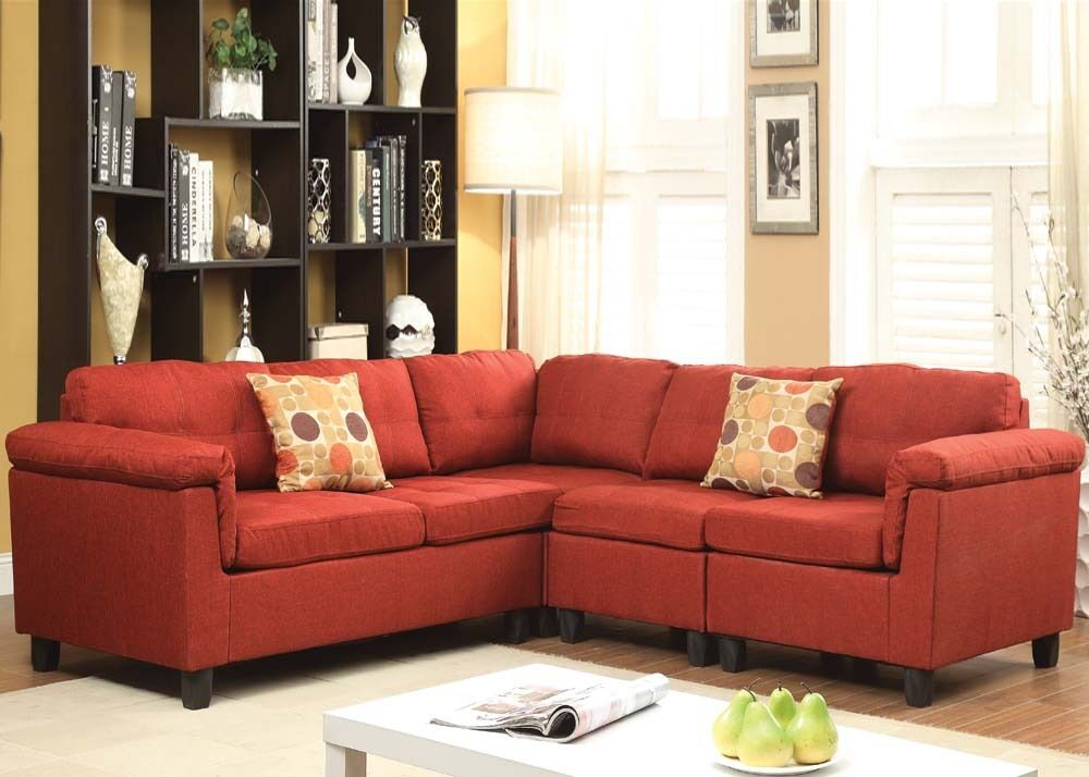 Contemporary Red Sectional Sofa Couch Linen Reversible