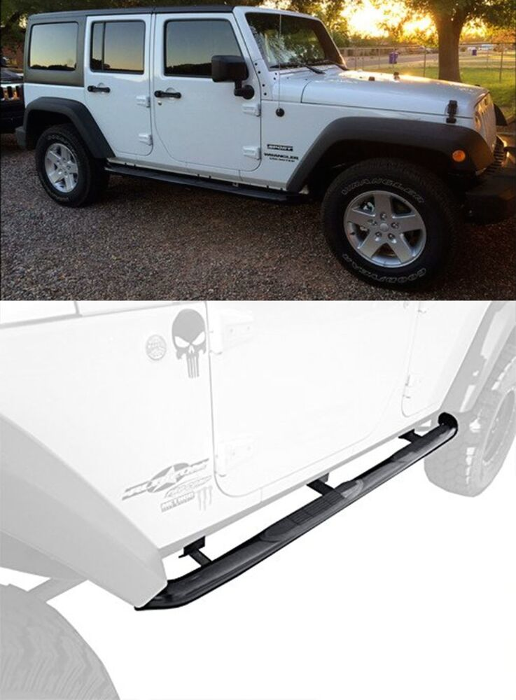 "2007-2017 Jeep Wrangler 4 Door 3"" Black Side Armor Step ..."