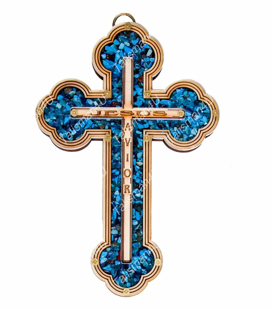 Natural turquoise wall cross jesus savior home decor jerusalem holy land gift 7 ebay Home decor wall crosses