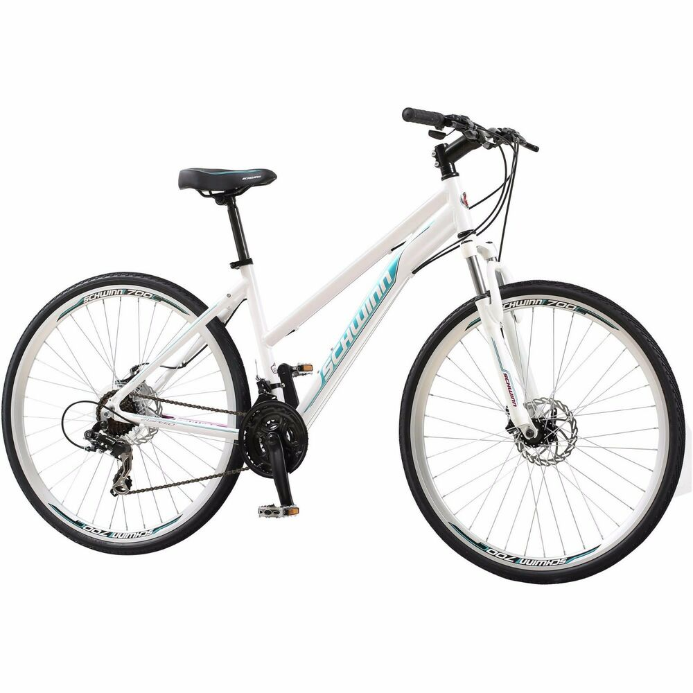 700c Women S Dual Sport Bike Schwinn White Bicycle Shimano
