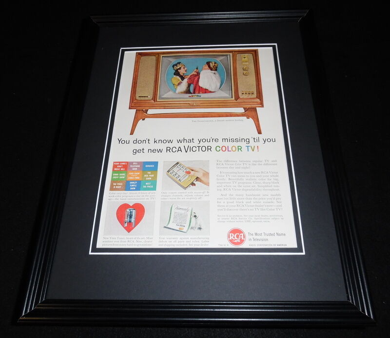 1961 RCA Victor Color TV Framed 11x14 ORIGINAL Vintage