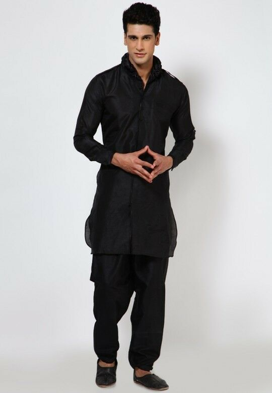 Men's Designer Black Traditional Kurta Pajama Indian ...