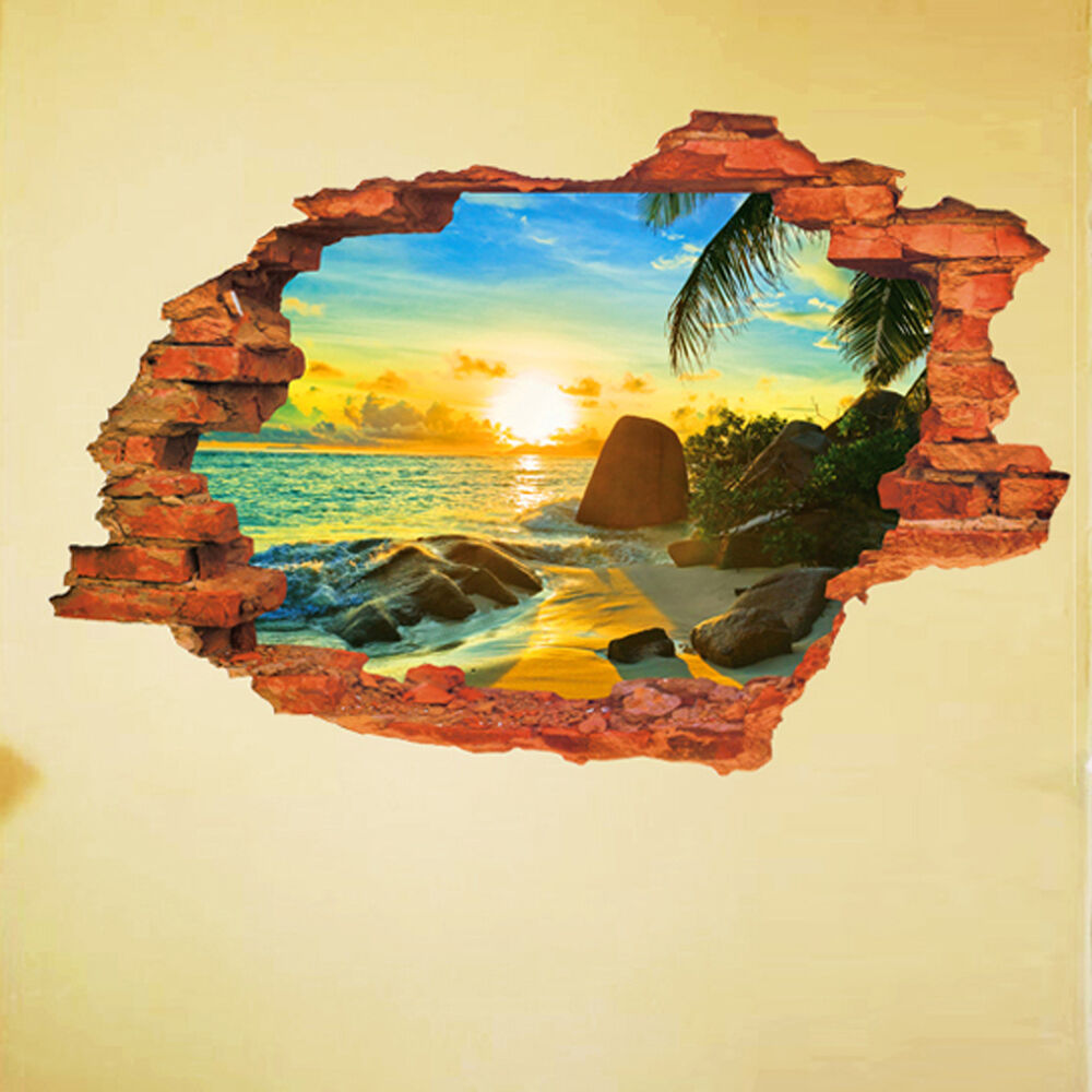 3d hole in the wall sunrise by the sea pvc wall decals