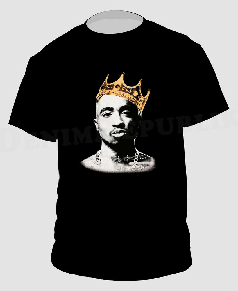 king 2pac black t shirt hip hop rapper pac new tee tupac. Black Bedroom Furniture Sets. Home Design Ideas
