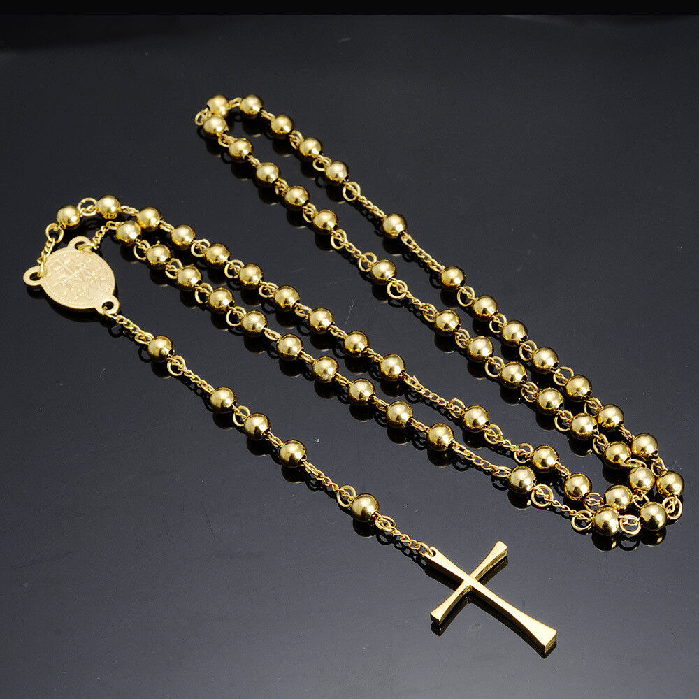 Delicate 4 6 8mm New Gold Rosary Chain Mens Ball Cross