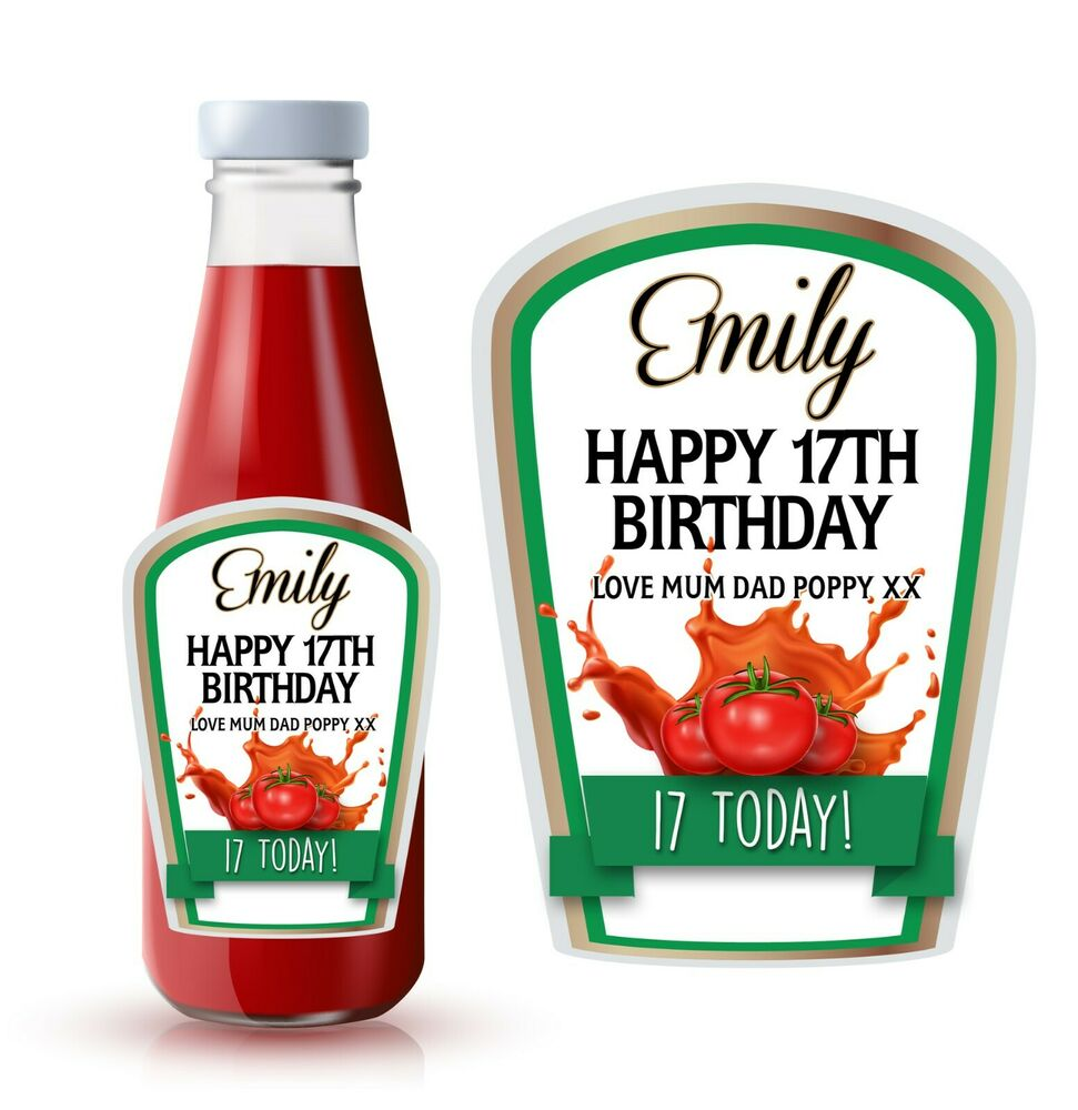 Personalised spoof ketchup bottle label perfect birthday for Heinz label template