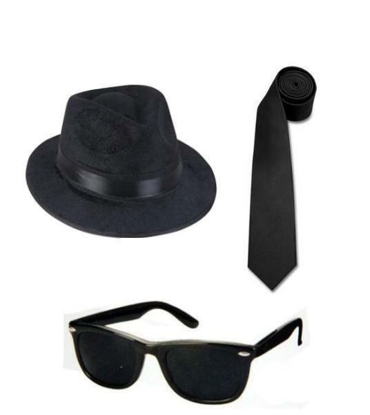 Details about 4 BLUES BROTHERS FEDORA HATS + 4 BLUES BROS SUNGLASSES + 4  TIES Free Shipping 8625f4cd352