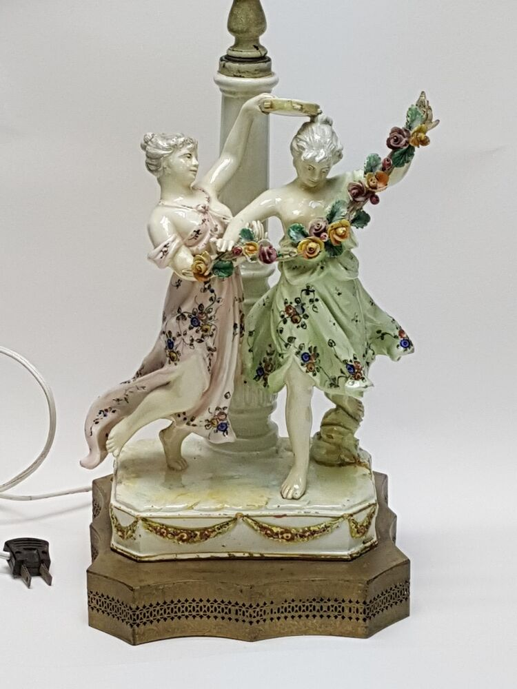 Antique 19c Possibly Meissen German Two Maiden