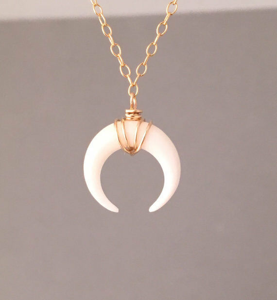 Crescent Horn Necklace: TINY White Bone Double Horn Gold Pendant Charm Necklace