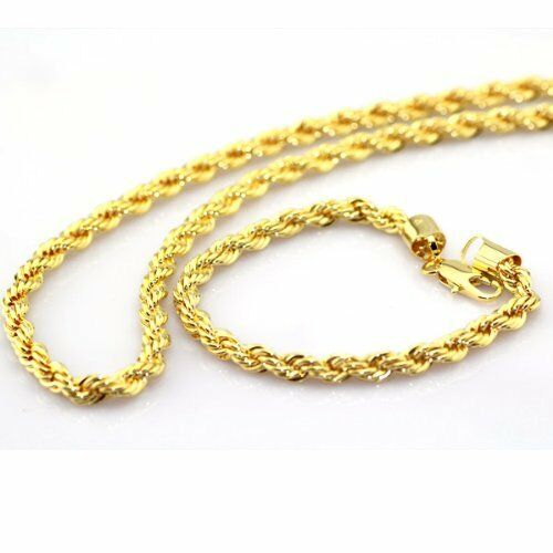 Mens 14k Yellow Gold Plated 24in Rope Chain Necklace 4mm