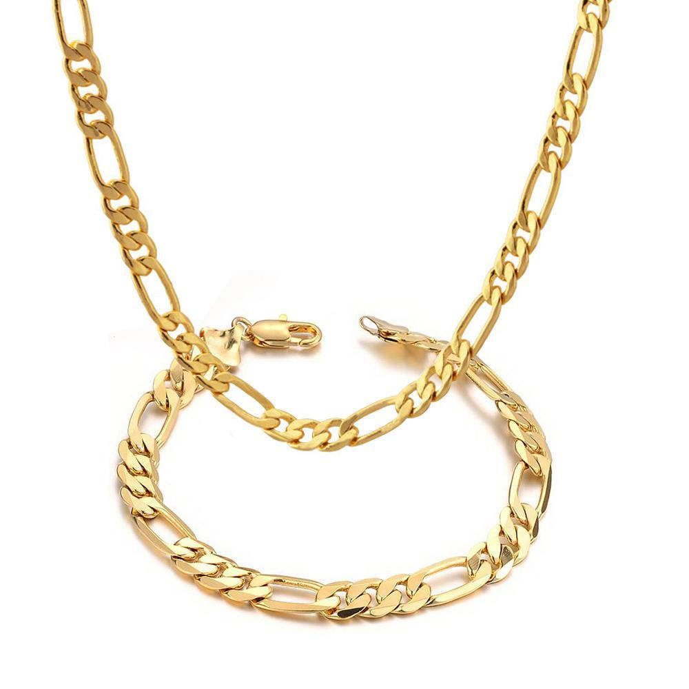 mens 14k yellow gold plated 24in figaro chain necklace 5 6
