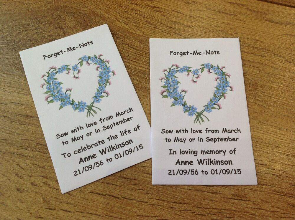 10 personalised forget me not seed favours funeral. Black Bedroom Furniture Sets. Home Design Ideas