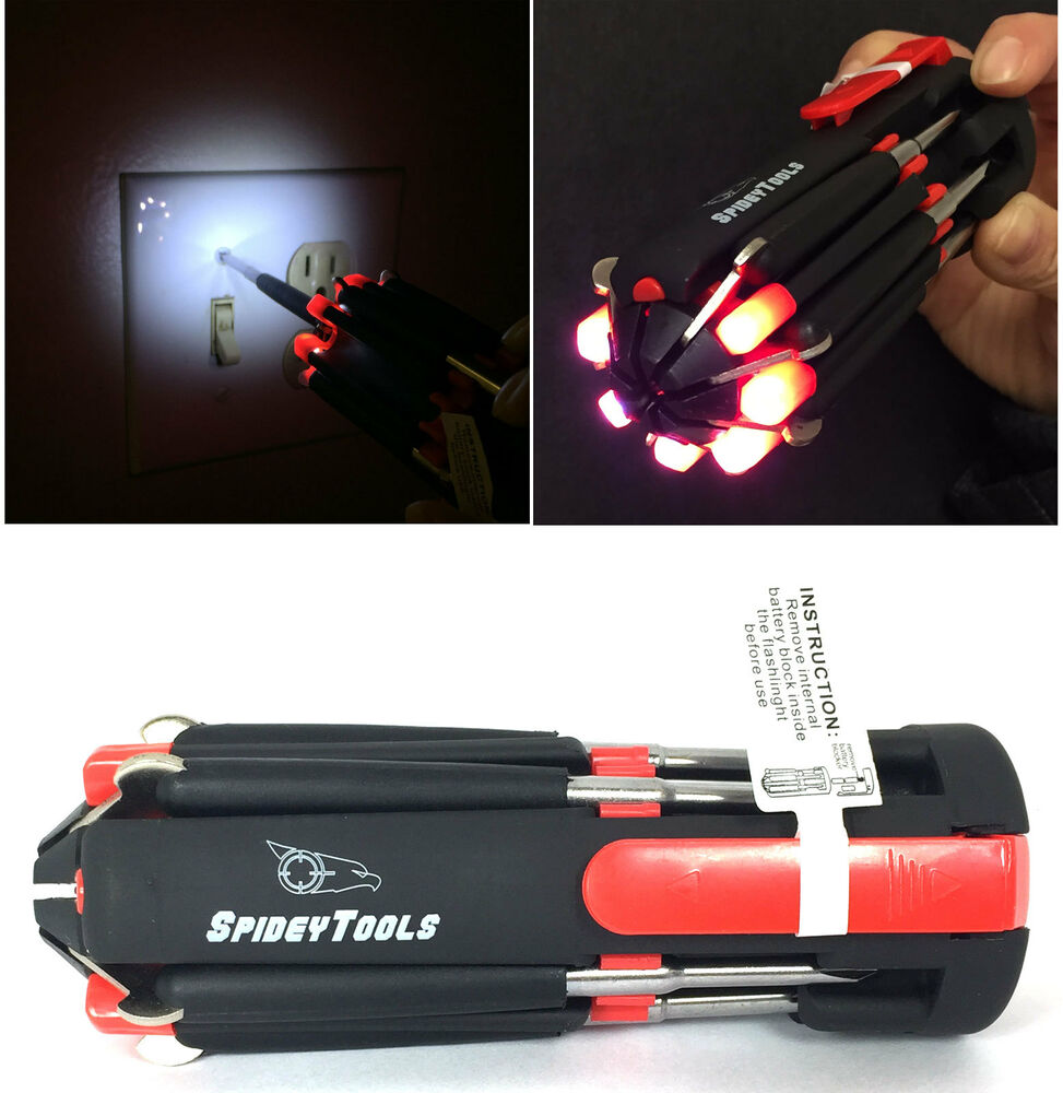 Spidey Multi Tools 8 In1 Soft Touch Screwdriver W Led