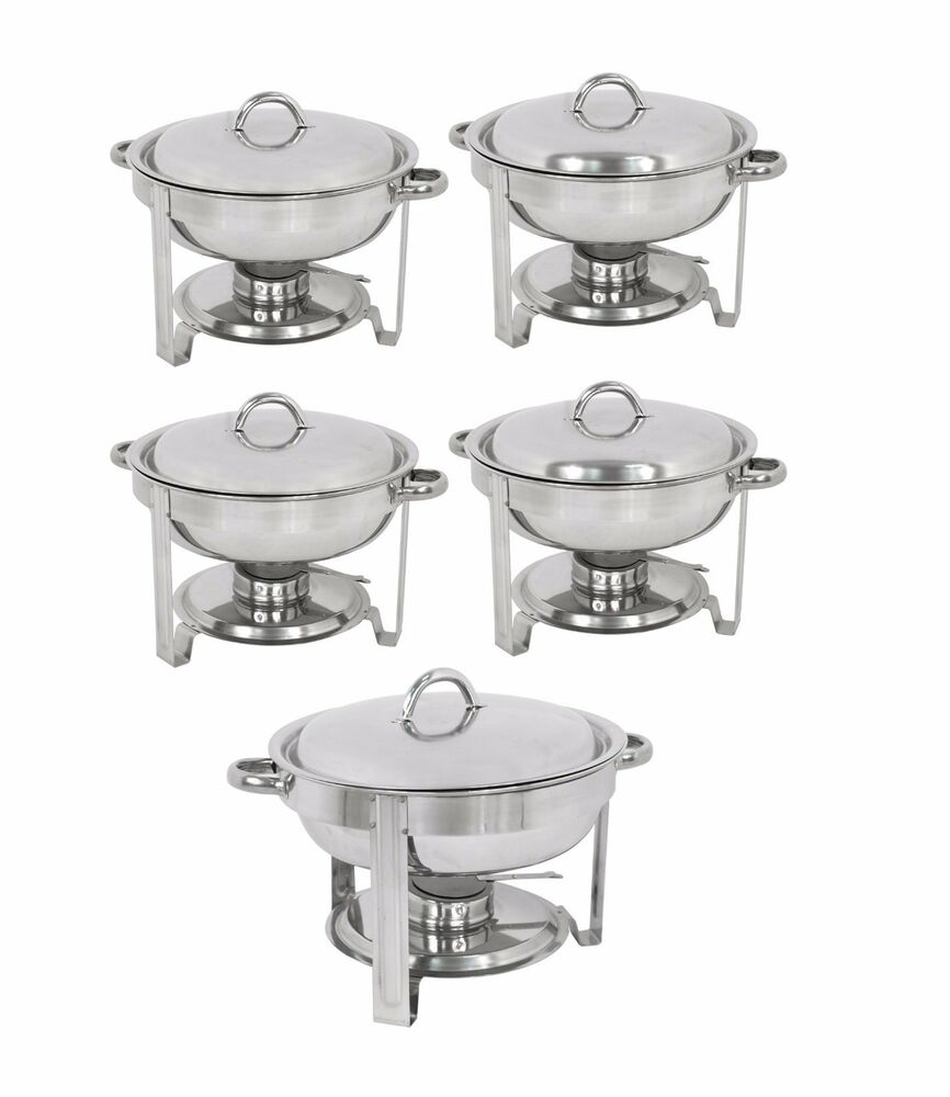 5 Pack Round Chafing Dish Buffet Chafer Warmer Set W Lid 5