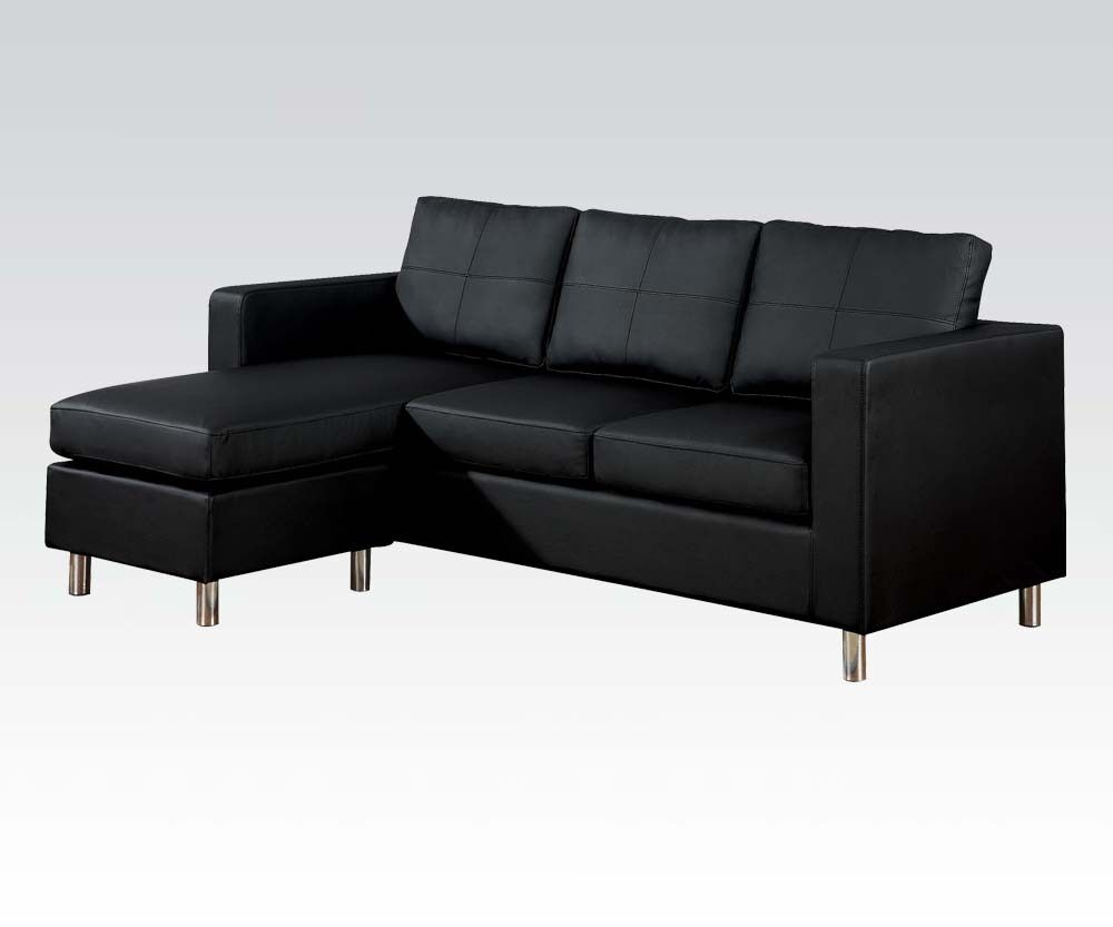 Reversible sectional chaise sofa couch black modern living for Apartment couch with chaise