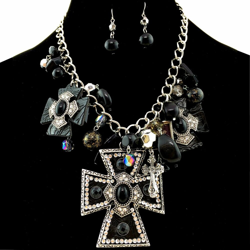 western black large cross pendant with charms necklace