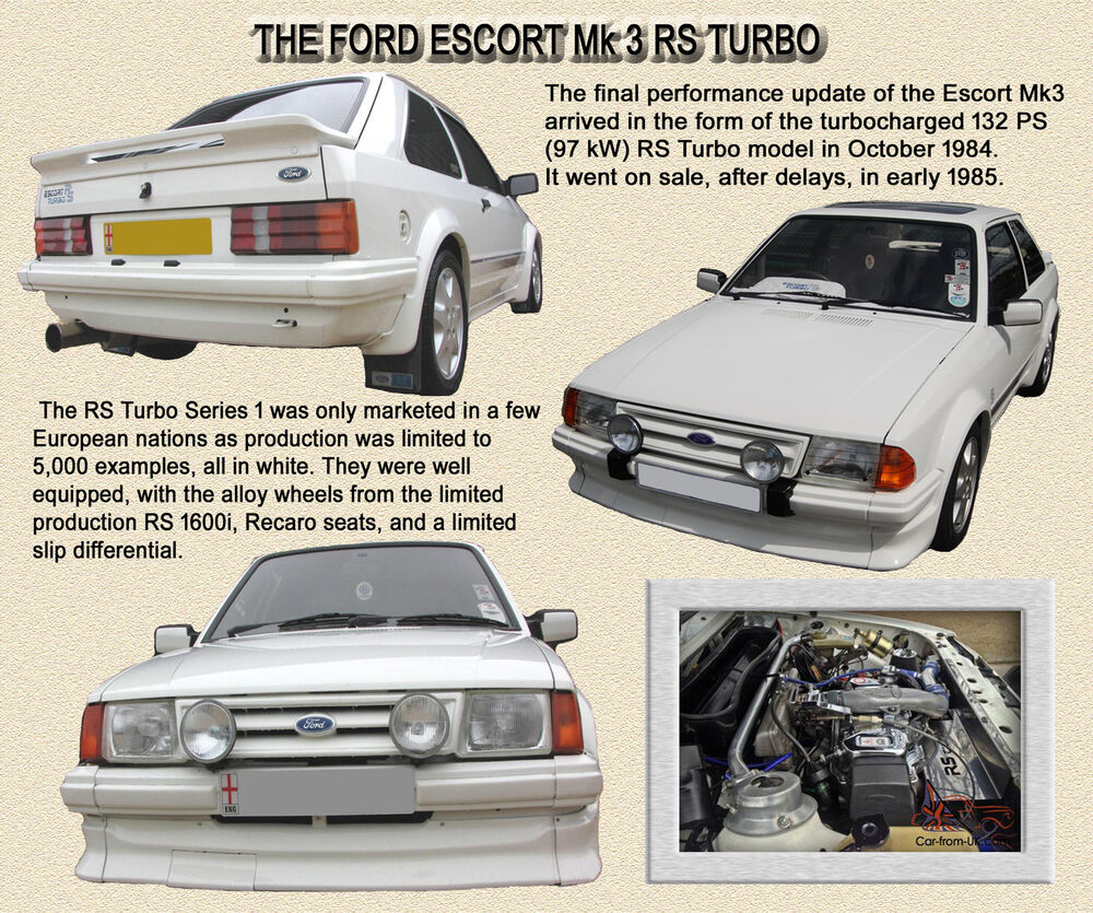 ford escort mk3 rs turbo series 1 classic car mouse mat limited edition ebay. Black Bedroom Furniture Sets. Home Design Ideas