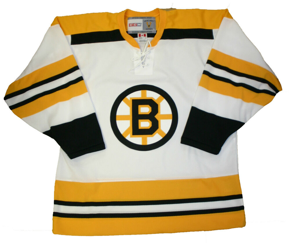 BOSTON BRUINS VINTAGE STYLE 1970'S CCM WHITE HOME JERSEY