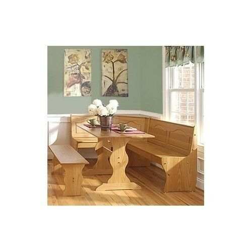Kitchen breakfast nook pine wood dinette set bench dining for Kitchen table sets with bench