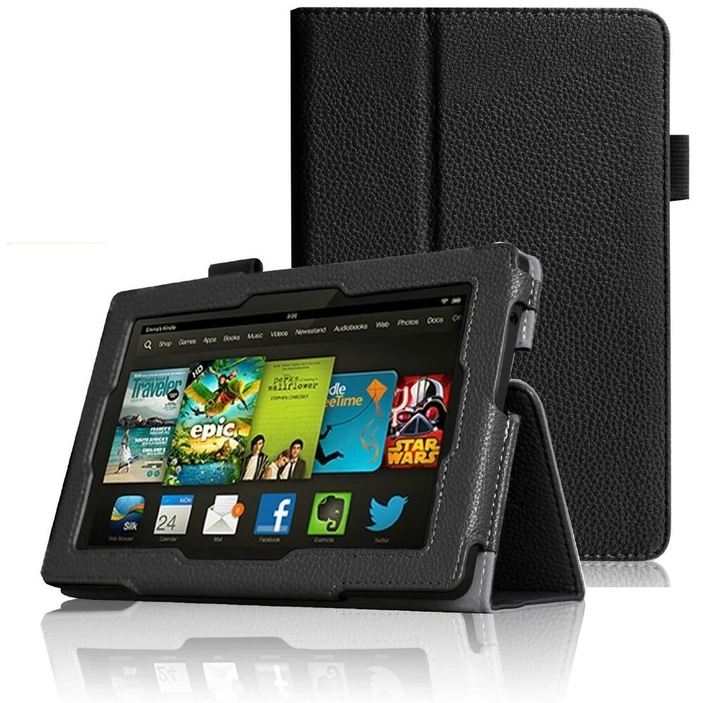 "BLACK LEATHER STAND CASE FOR AMAZON KINDLE FIRE HD 7"" INCH"