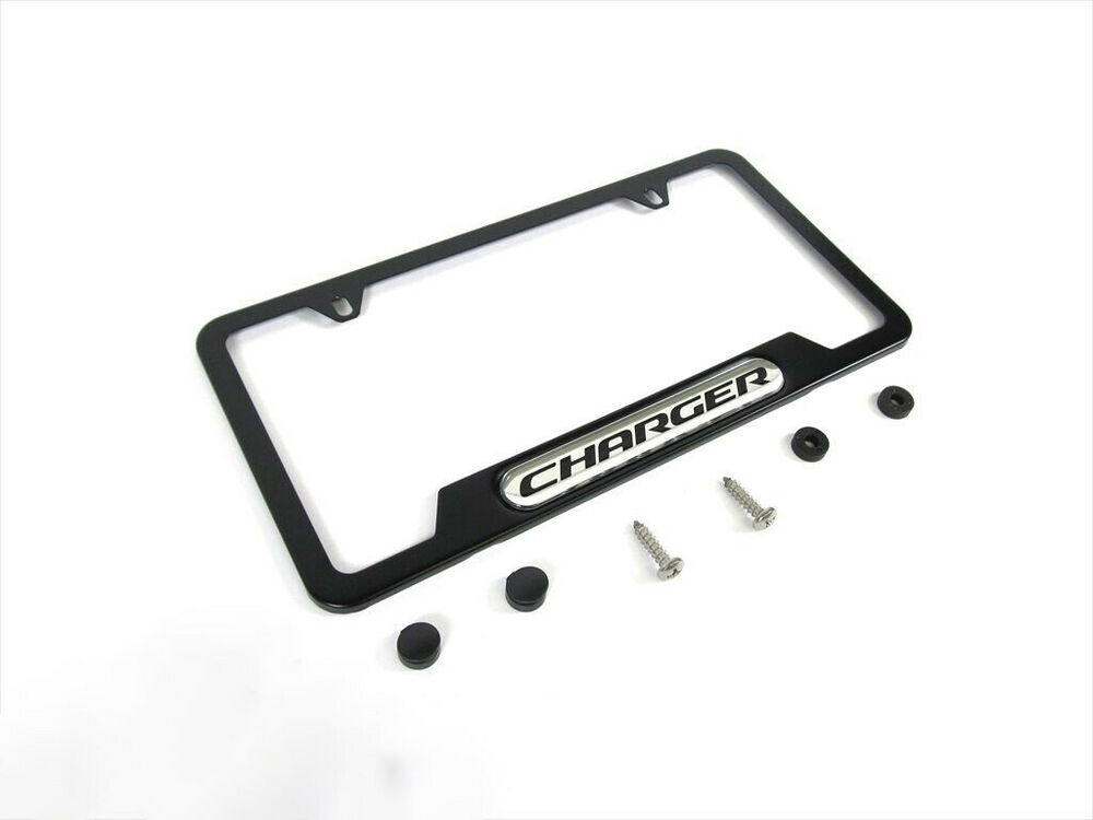 06 17 Dodge Charger Matte Black License Plate Frame Holder