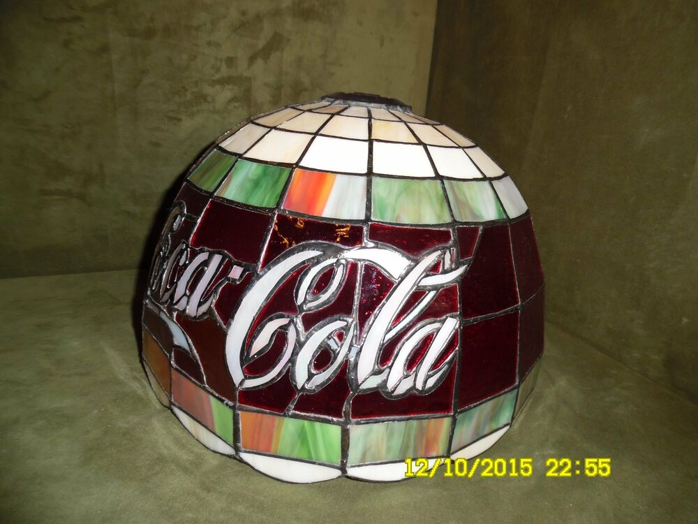 Stained Glass Tiffany Style Coca Cola Table Lamp