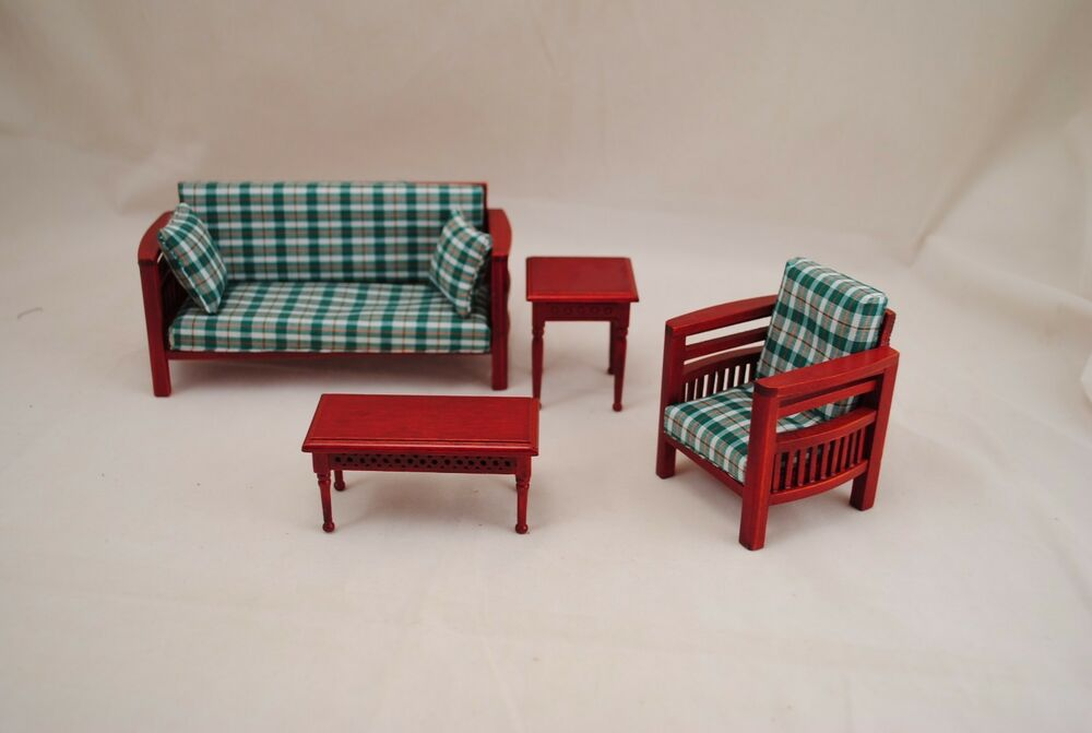 cool 12 scale dollhouse living room set | Family Living Room Set dollhouse miniatures 4pc T3694 1/12 ...