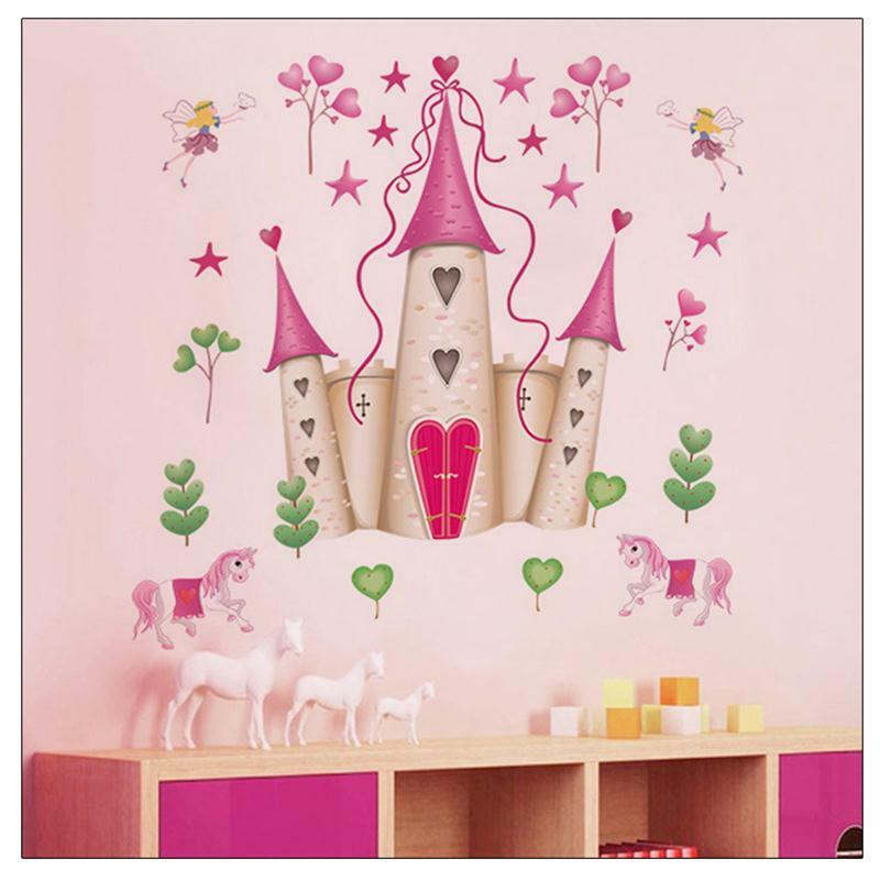 Princess castle kids girls 39 bed room decor wall sticker for Castle mural kids room