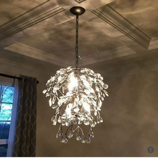 Pottery Barn Bella Chandelier: Pottery Barn Bella Round Crystal Chandelier Pendant Pewter