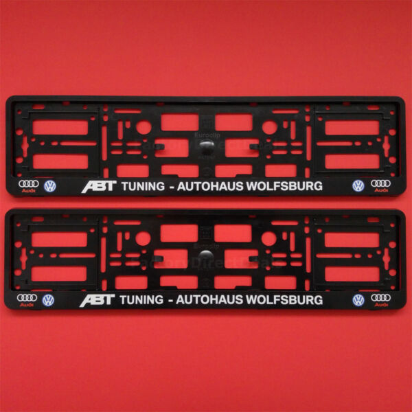 2x ABT TUNING AUTOHAUSE WOLFSBURG AUDI VW Number Plate Surrounds Holder Frame