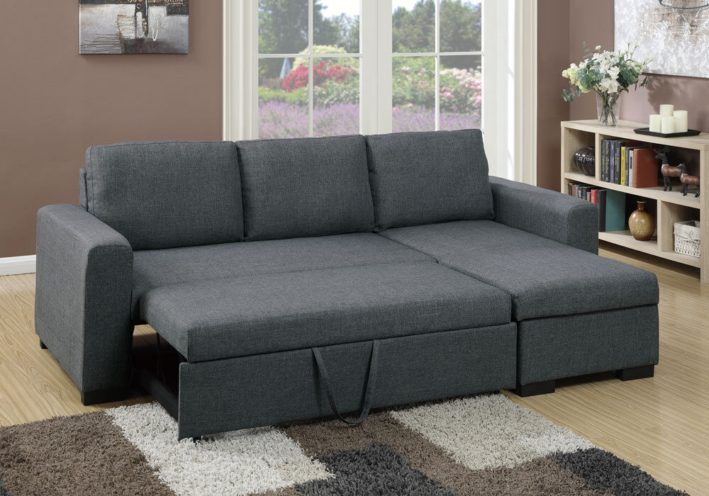Modern 2 pcs sectional sofa pull out bed under seat for Sectional sofa with pull out bed and recliner