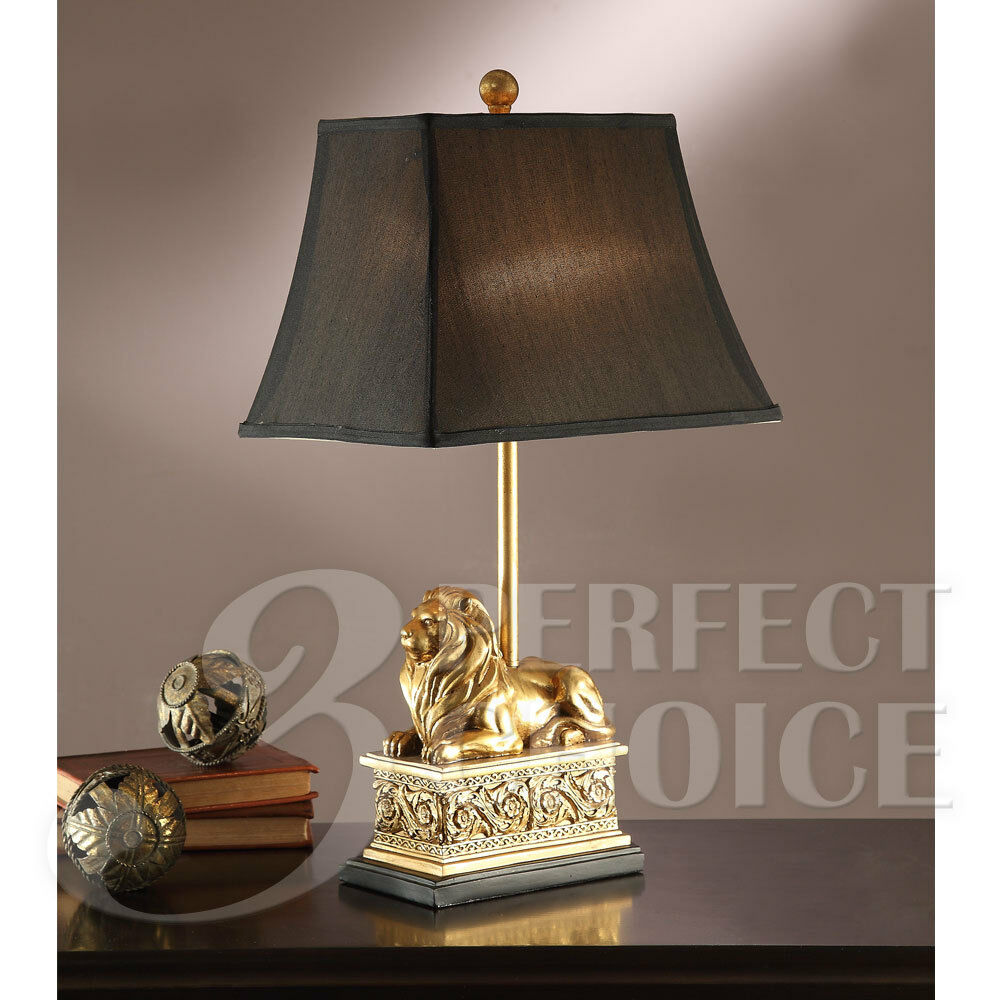 Elegant Set Of 2 Gold Lion Sculpted Base Square Shade Table Lamp