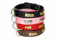 """REAL LEATHER DOG COLLAR BRASS STRONG 1"""" & 1/4"""" WIDE"""