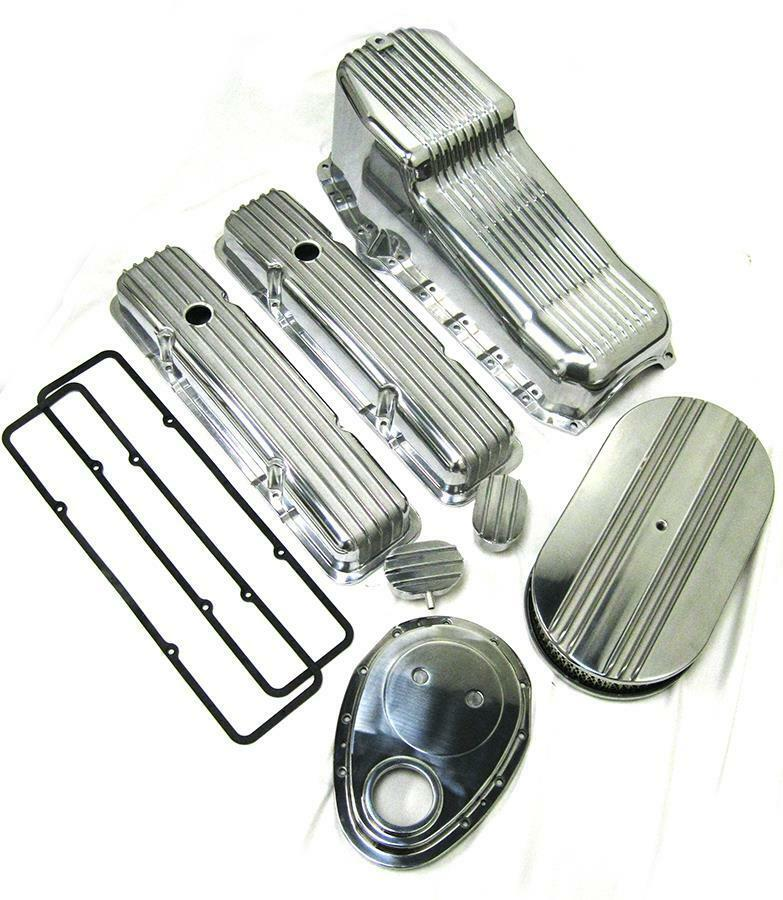 350 Chevy Engine Kit: 1958-1979 Small Block Chevy 283-350 Tall Polished Finned