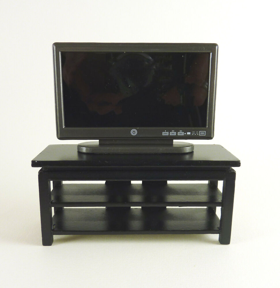 Dollhouse Miniatures Tv: Dollhouse Miniature Wide Screen TV Stand, Black, STAND