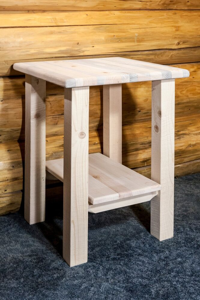 Farmhouse Style Night Stand Solid Pine End Tables Cabin