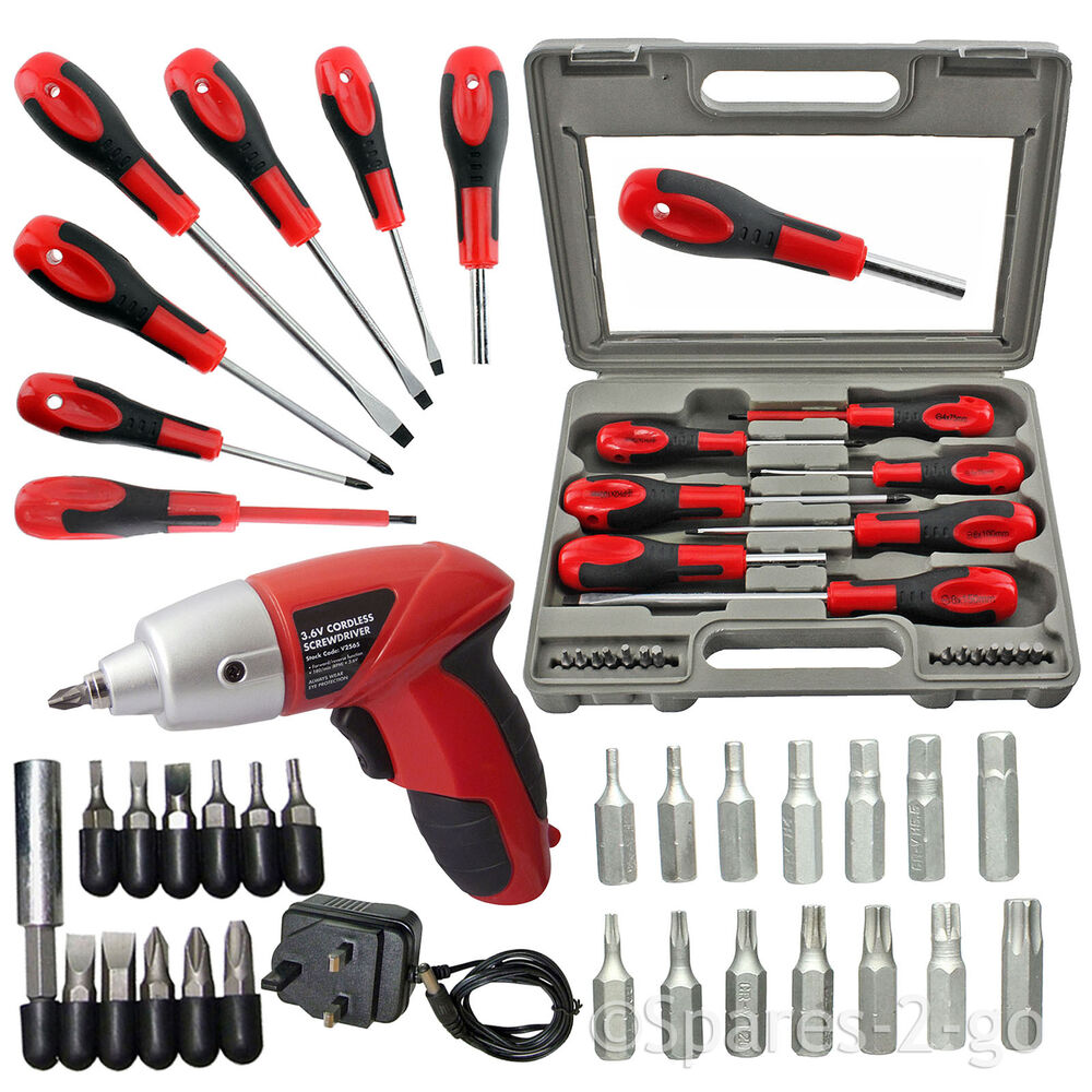 35 pc chrome magnetic tip cordless screwdriver bit set phillips flat hex torx ebay. Black Bedroom Furniture Sets. Home Design Ideas